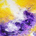 Yellow Purple Inspirational Color Energy Original Abstract Painting Tide Of Time By Chakramoon by Belinda Capol