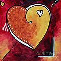Yellow Red Orange Heart Love Painting Pop Art Love By Megan Duncanson by Megan Duncanson