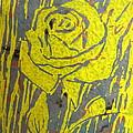 Yellow Rose On Blue by Marita McVeigh