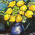 Yellow Roses In Blue Vase by Hae Kim