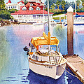 Yellow Sailboat And Coronado Boathouse by Mary Helmreich