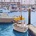 Yellow Sailboat Oceanside by Mary Helmreich