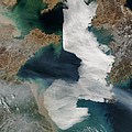 Yellow Sea - Satellite View by World Art Prints And Designs