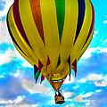 Yellow Striped Hot Air Balloon by Robert Bales