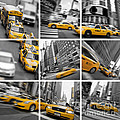 Yellow Taxis Collage by Delphimages Photo Creations