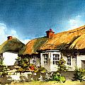 Yellow Thatch In Adare  Limerick by Val Byrne