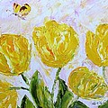 Yellow Tulips And Butterfly by Galina Khlupina