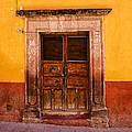 Yellow Wall Wooden Door by Carol Leigh