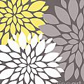 Yellow White Grey Peony Flowers by Voros Edit