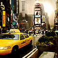 Yelow Cab At Time Square New York by Yvon van der Wijk