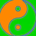 Yin Yang Orange Green Pop Art by Eti Reid