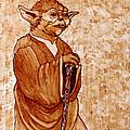 Yoda Wisdom Original Coffee Painting by Georgeta Blanaru