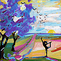 Yoga Under The Jacaranda Trees by Ginette Callaway