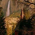 Yosemite Chapel And Falls In Color At Sunrise by Jeff Lowe