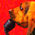 You Ain't Nothing But A Hound Dog - Red - Painterly by Wingsdomain Art and Photography