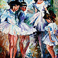 Young Ballerinas - Palette Knife Oil Painting On Canvas By Leonid Afremov by Leonid Afremov