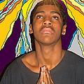 Young Black Man Praying by Lewanda Laboy