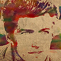 Young Clint Eastwood Actor Watercolor Portrait On Worn Parchment by Design Turnpike