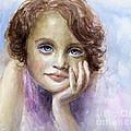 Young Girl Child Watercolor Portrait  by Svetlana Novikova