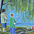 Young Lads Fishing by Bill Holkham