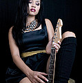 Young Lady With Guitar by Russell Shively
