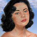Young Liz Taylor Portrait Remake Version II by Jim Fitzpatrick