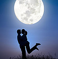 Young Lovers Embracing Before A Full Moon by Lee Avison
