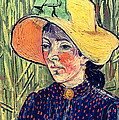 Young Peasant Girl In A Straw Hat Sitting In Front Of A Wheatfield by Vincent van Gogh