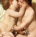 Young Woman Contemplating Two Embracing Children Detail II by William Bouguereau