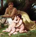 Young Woman Contemplating Two Embracing Children by Munir Alawi