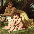 Young Woman Contemplating Two Embracing Children by William Bouguereau