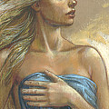 Young Woman With Blue Drape Crop by Zorina Baldescu