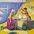 Young Women Of Provence At The Well-1892 by  Paul Signac