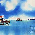 Yubu Island-water Buffalo Taxi  by Hisayo Ohta