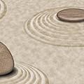 Zen Stones On Sand Garden Circles 2 by David Gn