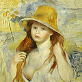 Young Girl With A Straw Hat by Pierre Auguste Renoir