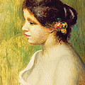 Young Woman With Flowers At Her Ear by Pierre Auguste Renoir