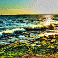 00015 Windy Waves Sunset Rays by Michael Frank Jr