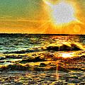 0009 Windy Waves Sunset Rays by Michael Frank Jr
