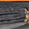 009 A Sunset With Eyes That Smile Soothing Sounds Of Waves For Miles Portrait Series by Michael Frank Jr