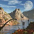 A Herd Of Omeisaurus Dinosaurs by Mark Stevenson