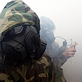A Marine Wearing A Gas Mask by Stocktrek Images
