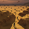 A Mixed Herd Of Dinosaurs Migrate by Mark Stevenson