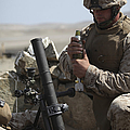 A U.s. Marine Loads A Mortar by Stocktrek Images