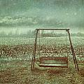 Abandoned  Swing In First Snow Storm Of Winter by Sandra Cunningham