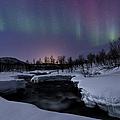 Aurora Borealis Over Blafjellelva River by Arild Heitmann