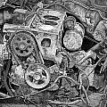 Auto Engine Block From A Wrecked Car by Randall Nyhof