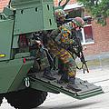 Belgian Infantry Soldiers Exit by Luc De Jaeger