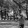 Bubble Boy Of Central Park In Black And White by Rob Hans