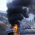 Car In Flames by Kaj R. Svensson